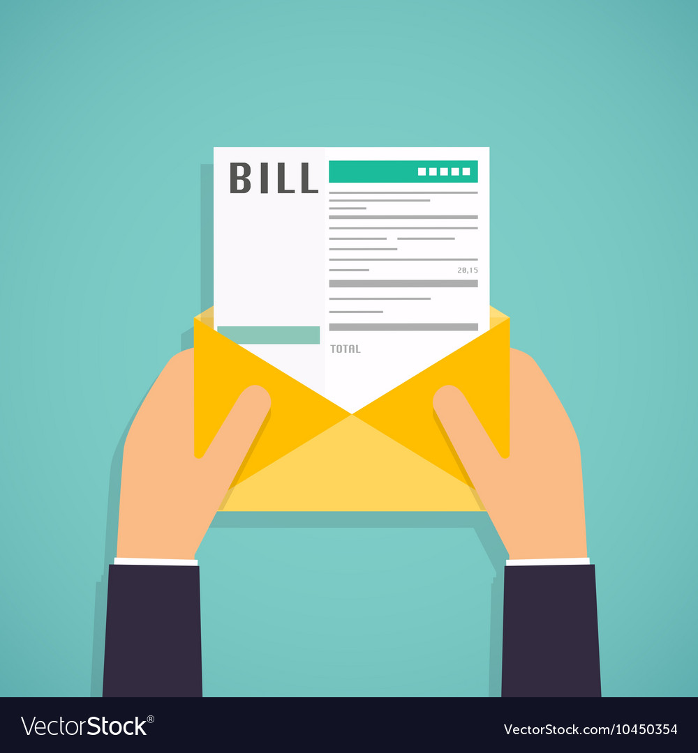 Hands holding mail with paying bills payment
