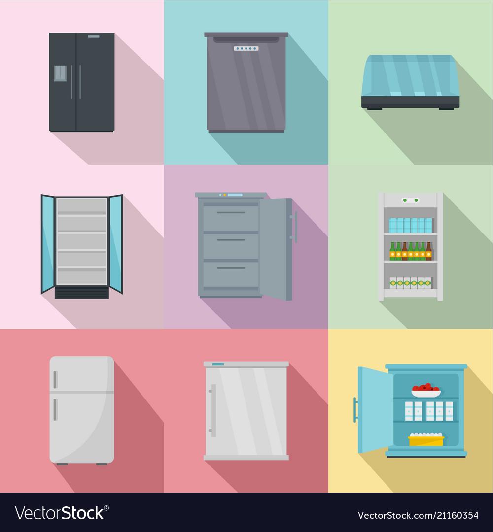 Kitchen equipment icons set flat style
