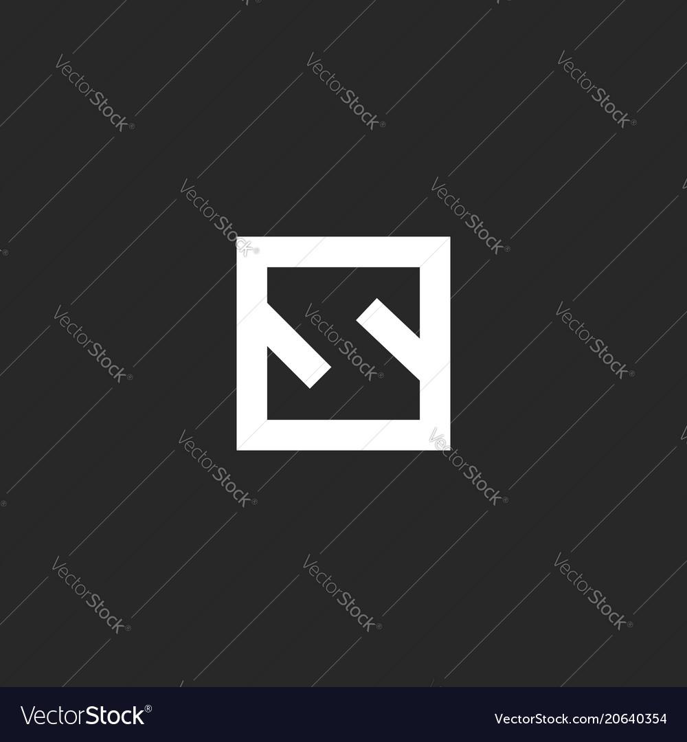 Letter s logo monogram minimal style square frame