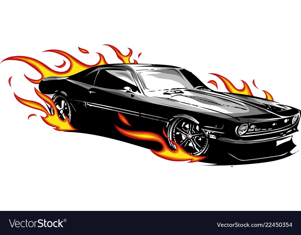 Muscle Car With Flames Crazy Race Royalty Free Vector Image