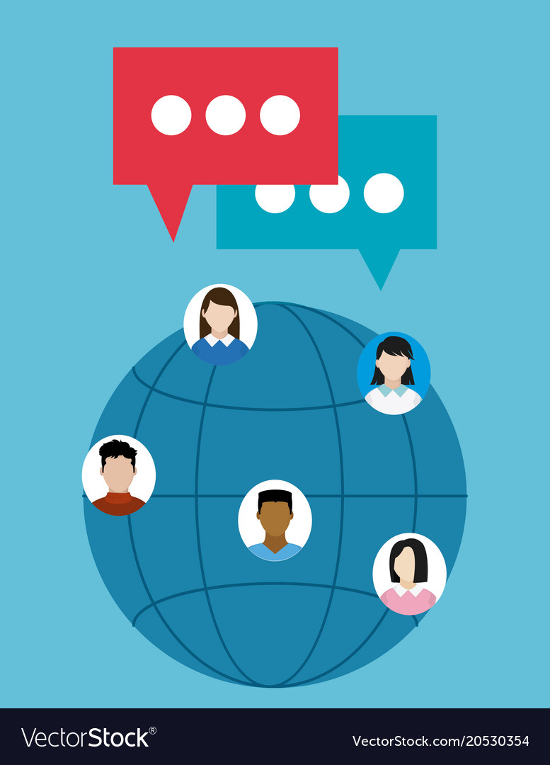People chatting around the world vector image on VectorStock