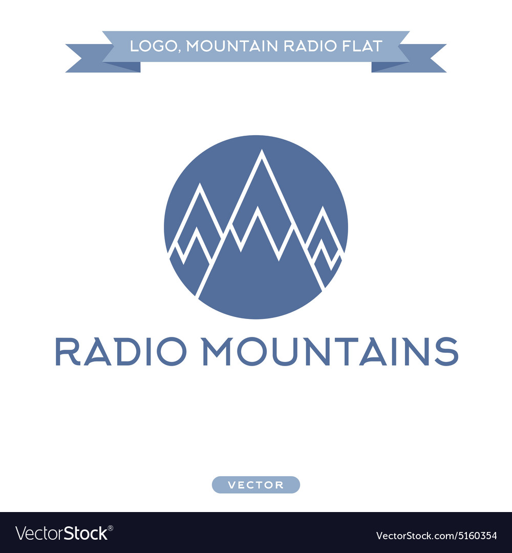 Radio signals scale mountains icon flat vector image