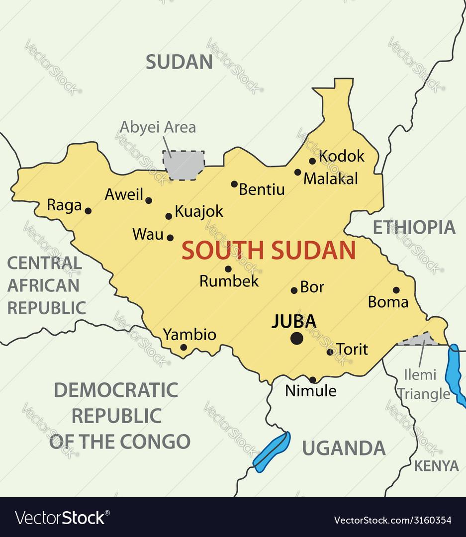 Republic of South Sudan - map Royalty Free Vector Image