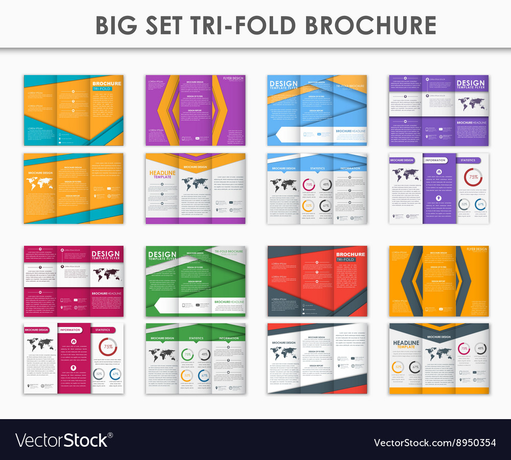 set triple folding brochures in the style of the vector image