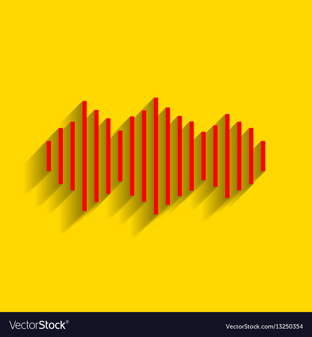 Sound waves icon red icon with soft vector image