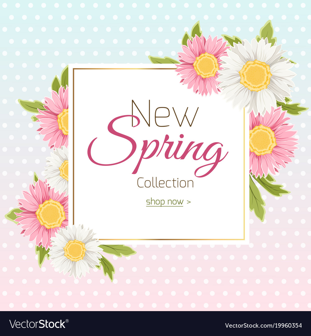 Spring shopping sale banner template daisy flower vector image izmirmasajfo