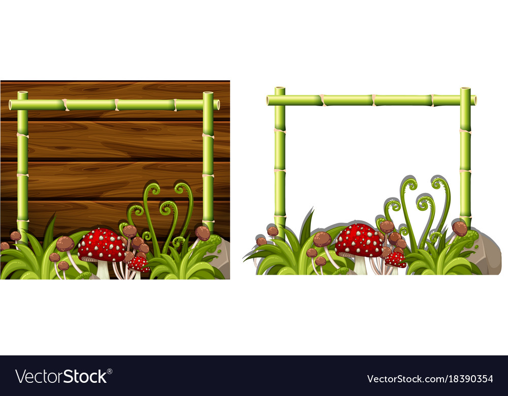 Two Bamboo Frames With Mushrooms Royalty Free Vector Image