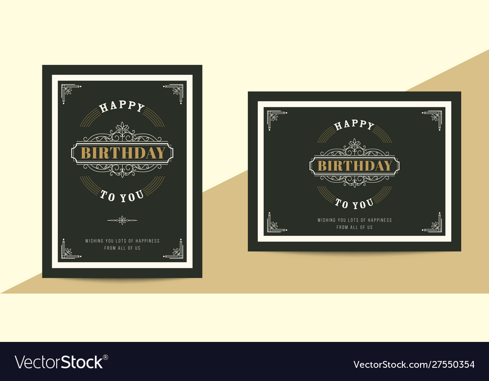Vintage luxury birthday card template retro