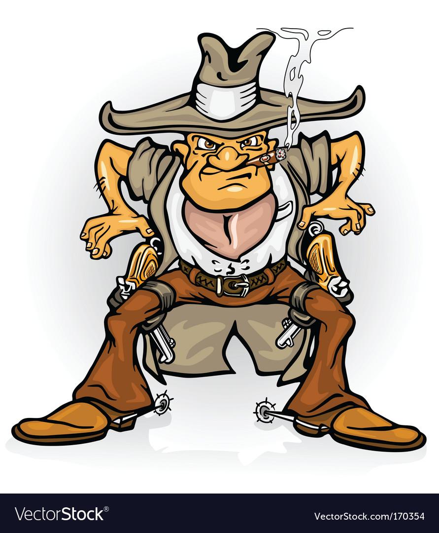Western cowboy bandit with gun vector image