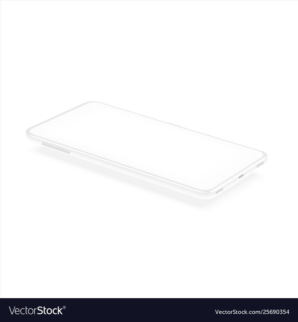 White isometric smartphone mockup realistic 3d