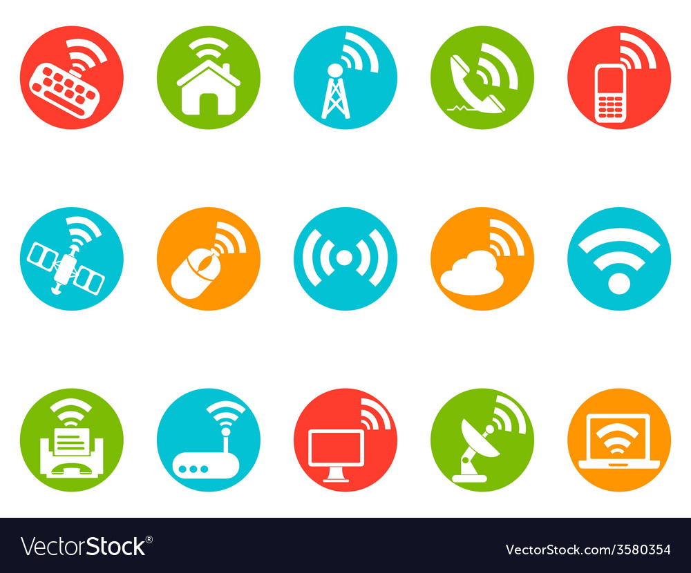 Wireless commuication button icons set