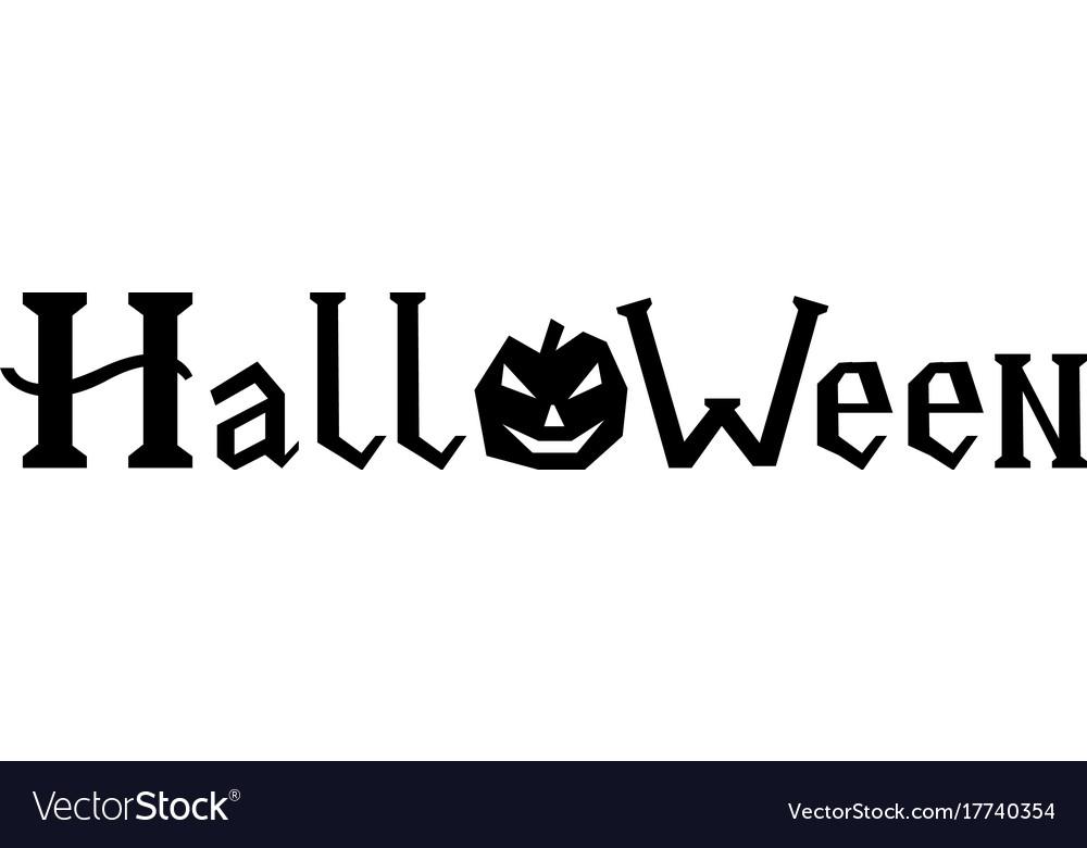 word halloween with pumpkin royalty free vector image