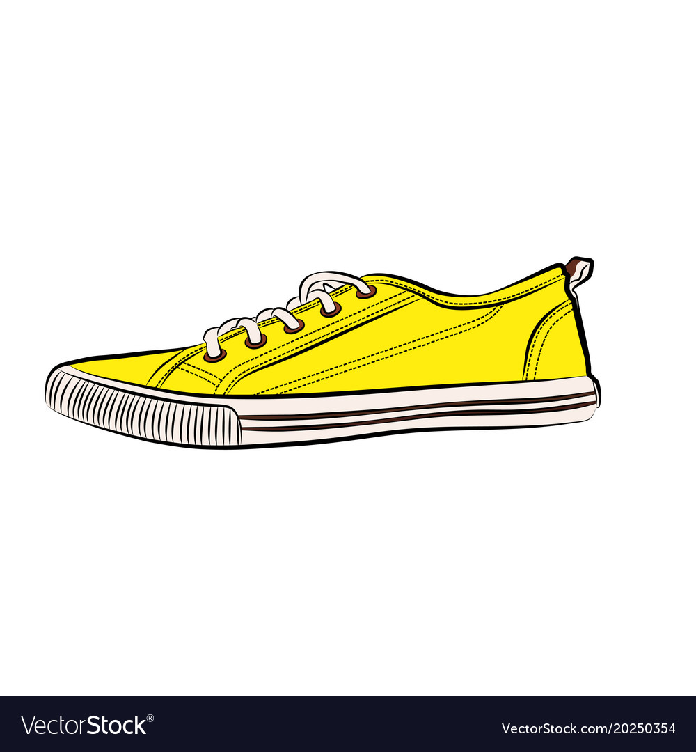 yellow sneakers icon flat of sneaker royalty free vector rh vectorstock com sneaker vector free download sneaker vector free download