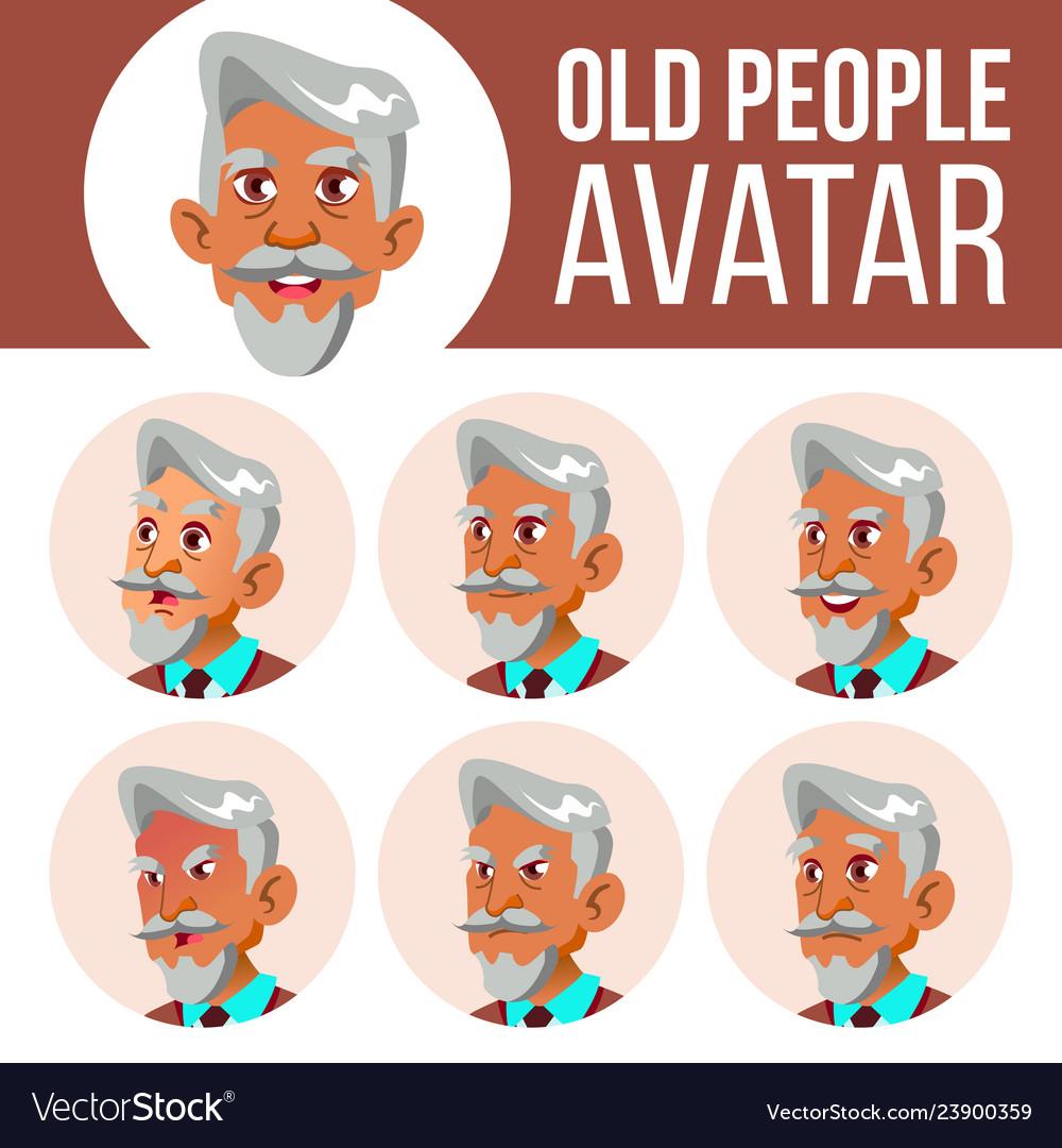 Arab muslim old man avatar set face