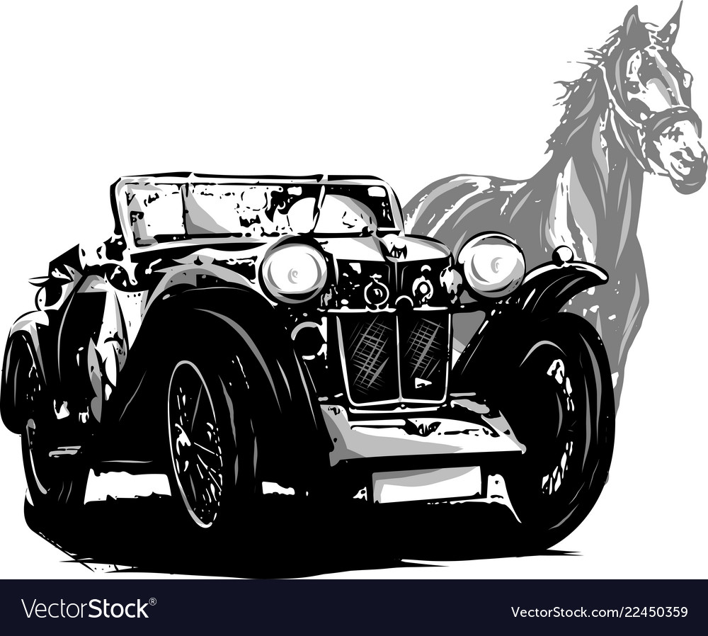 Car with horse wedding invitation vintage design