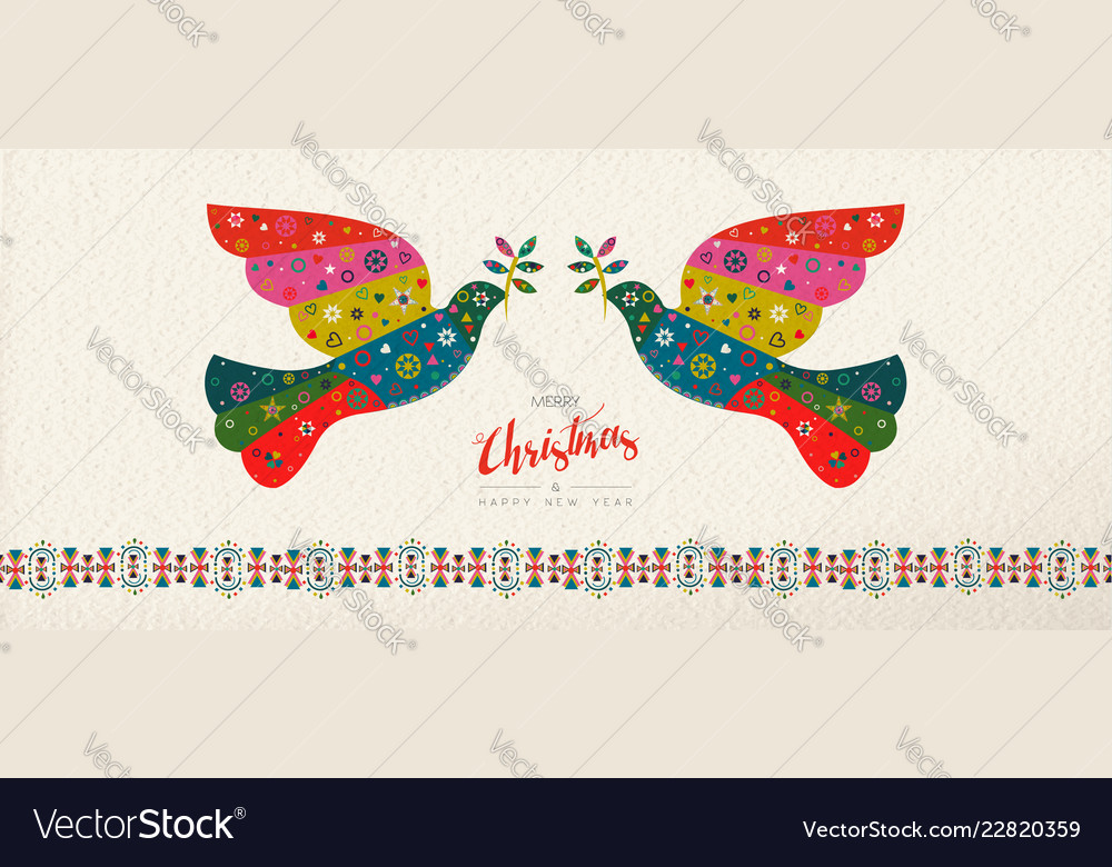 Christmas and new year scandinavian bird banner
