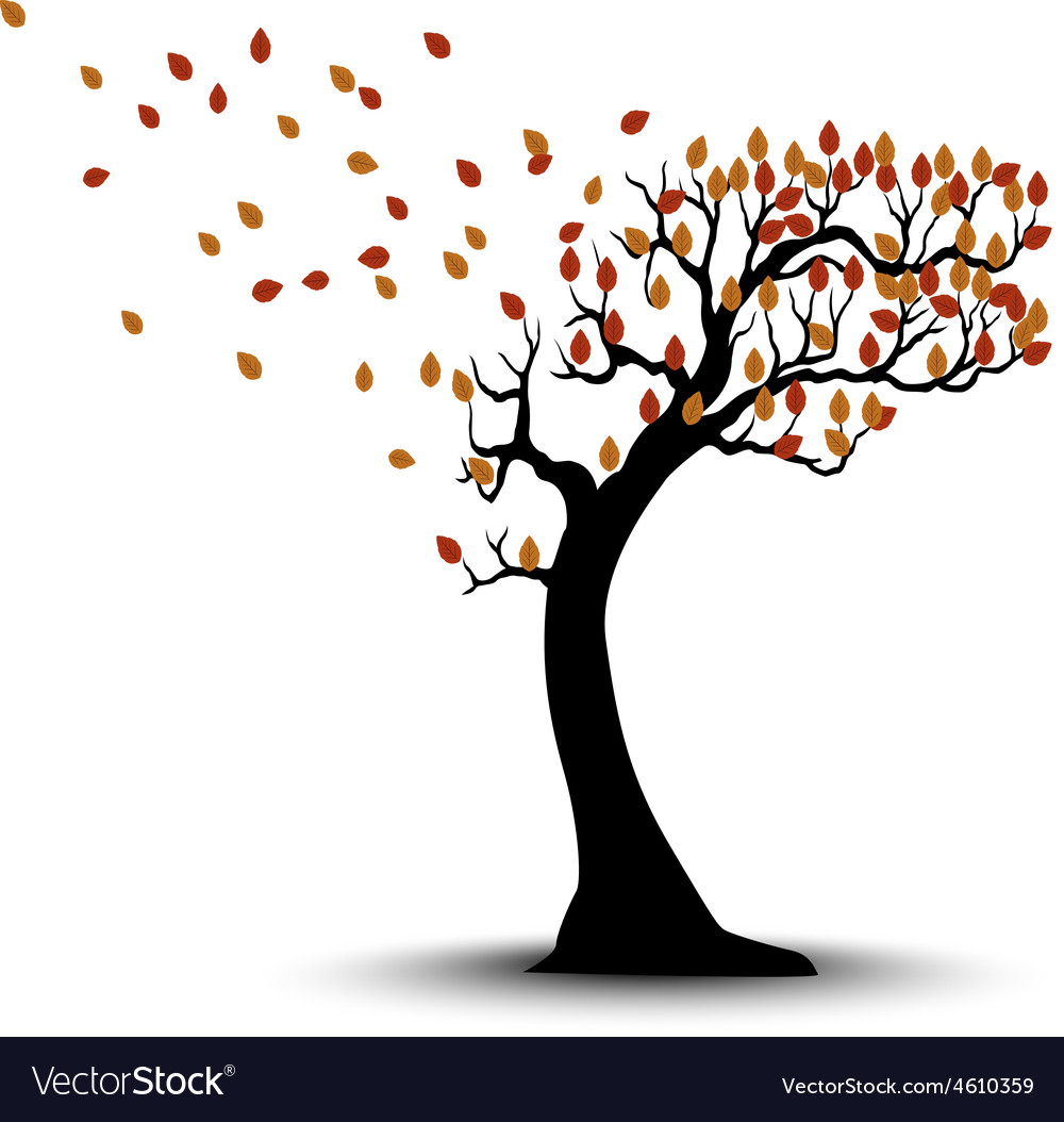 Decorative Autumn Tree Silhouette With Brown Leave