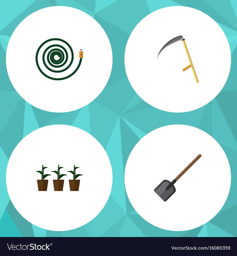 Flat icon dacha set of cutter flowerpot hosepipe vector image