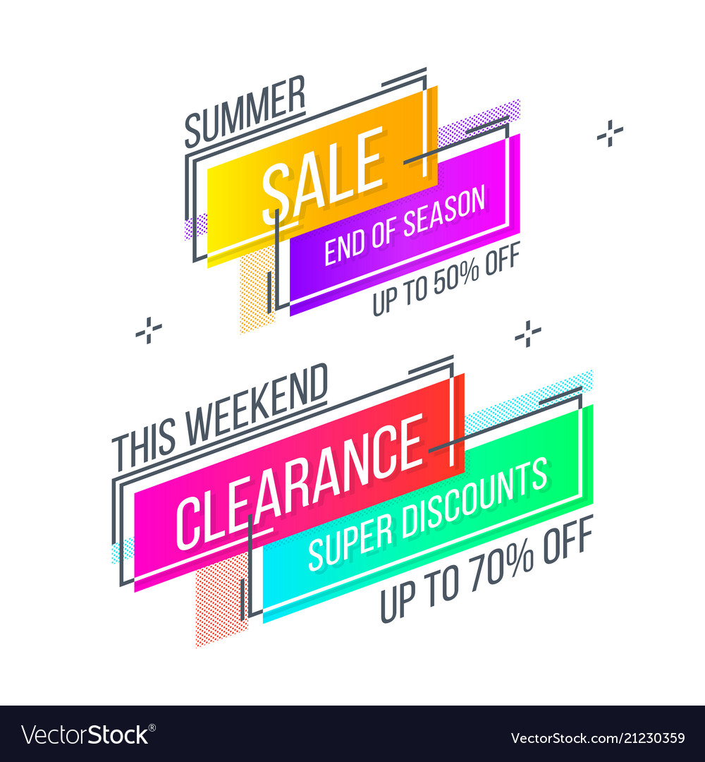 Flat linear promotion banner abstract design