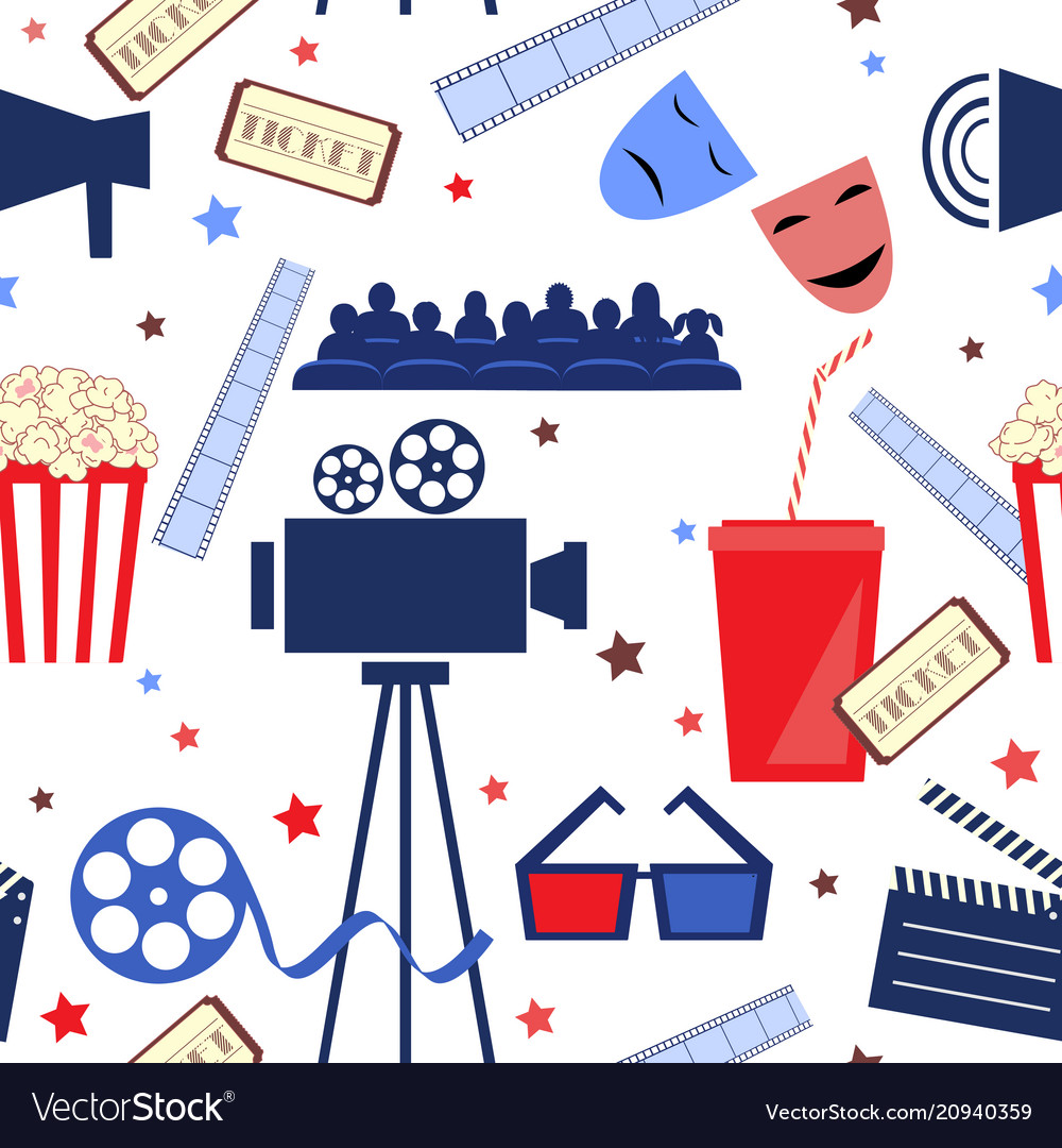 Flat seamless pattern with cinema attribute
