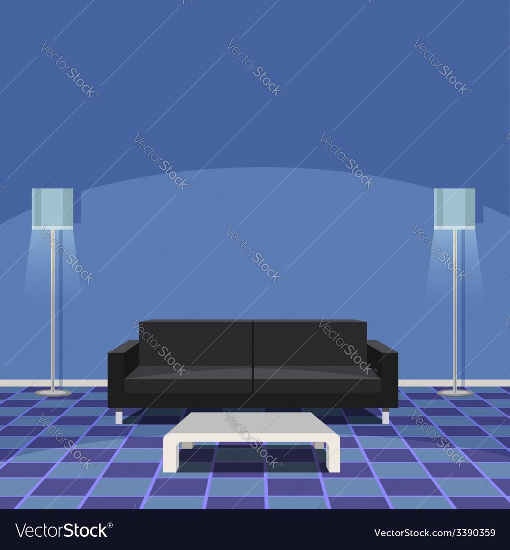 Modern Living Room - Blue vector image
