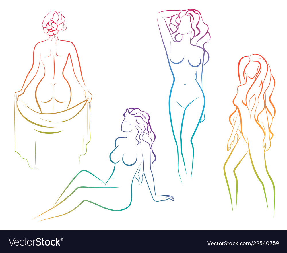 Set of beautiful gradient color line female