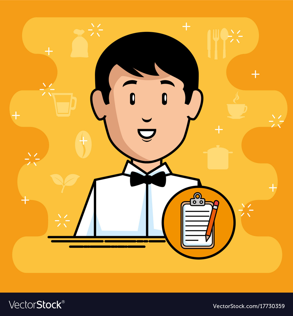 Young waiter cartoon