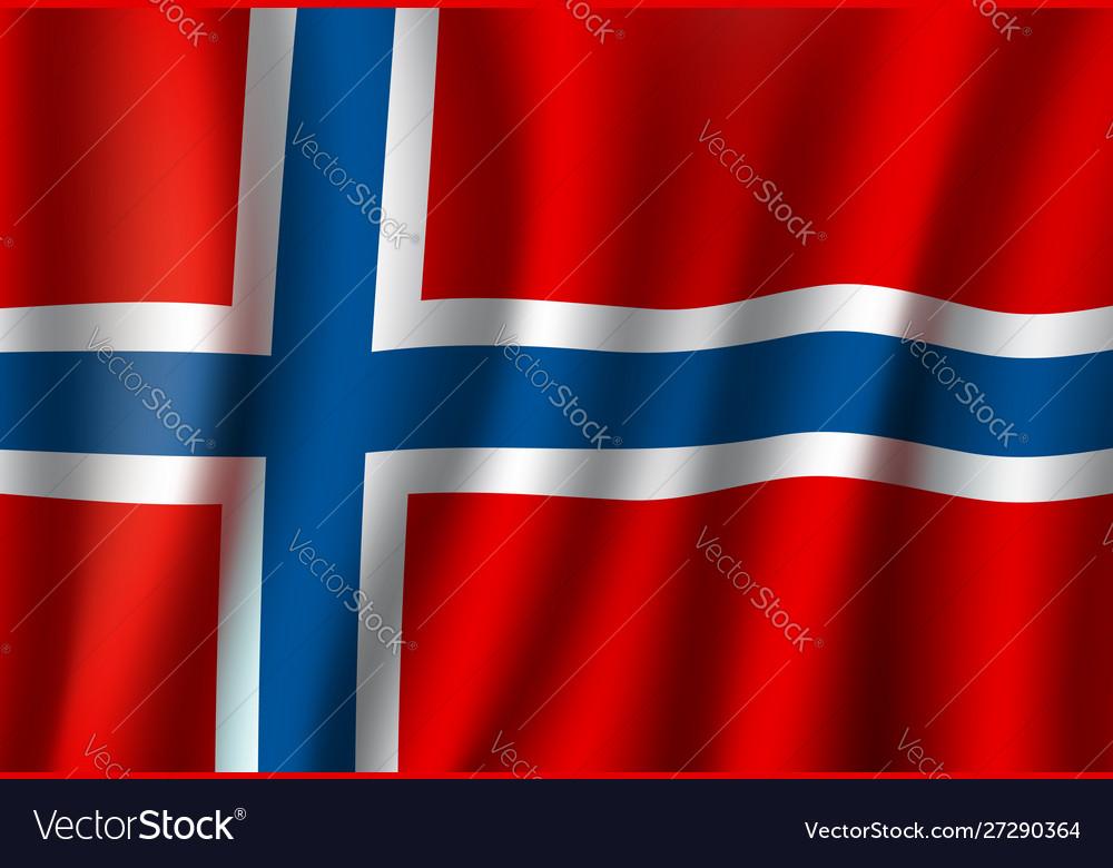 3d realistic wavy norway flag norwegian symbol