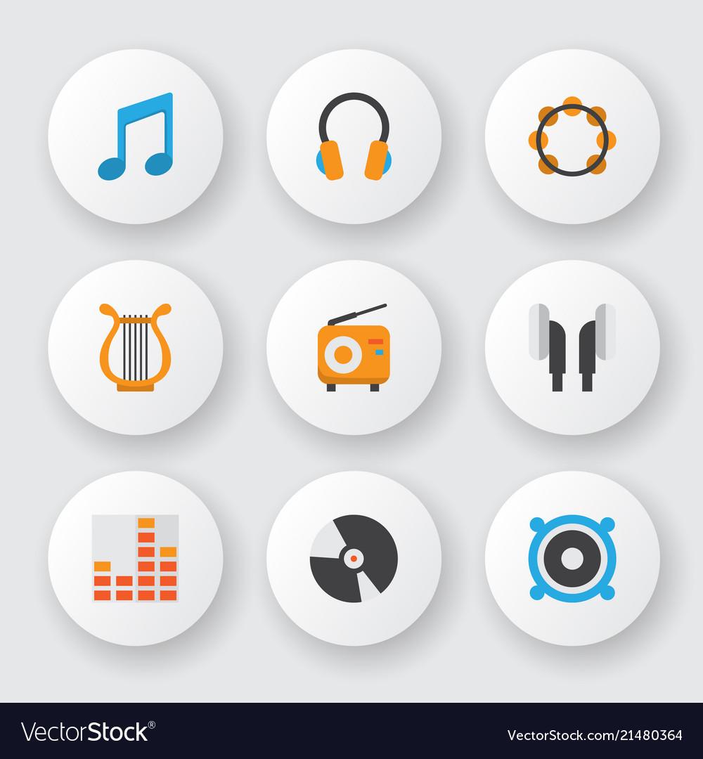 Audio icons flat style set with philharmonic ear
