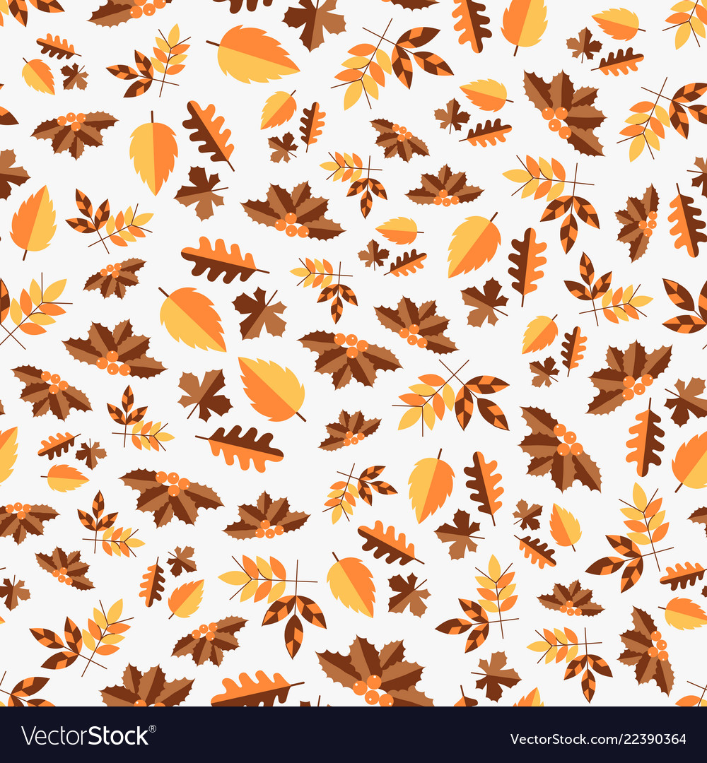 Autumn color seamless pattern of leaves for