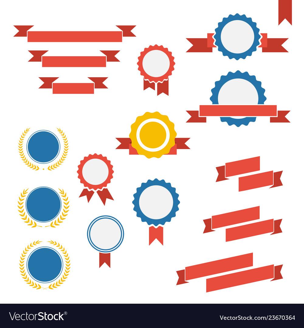 Badge labels and ribbons emblems set