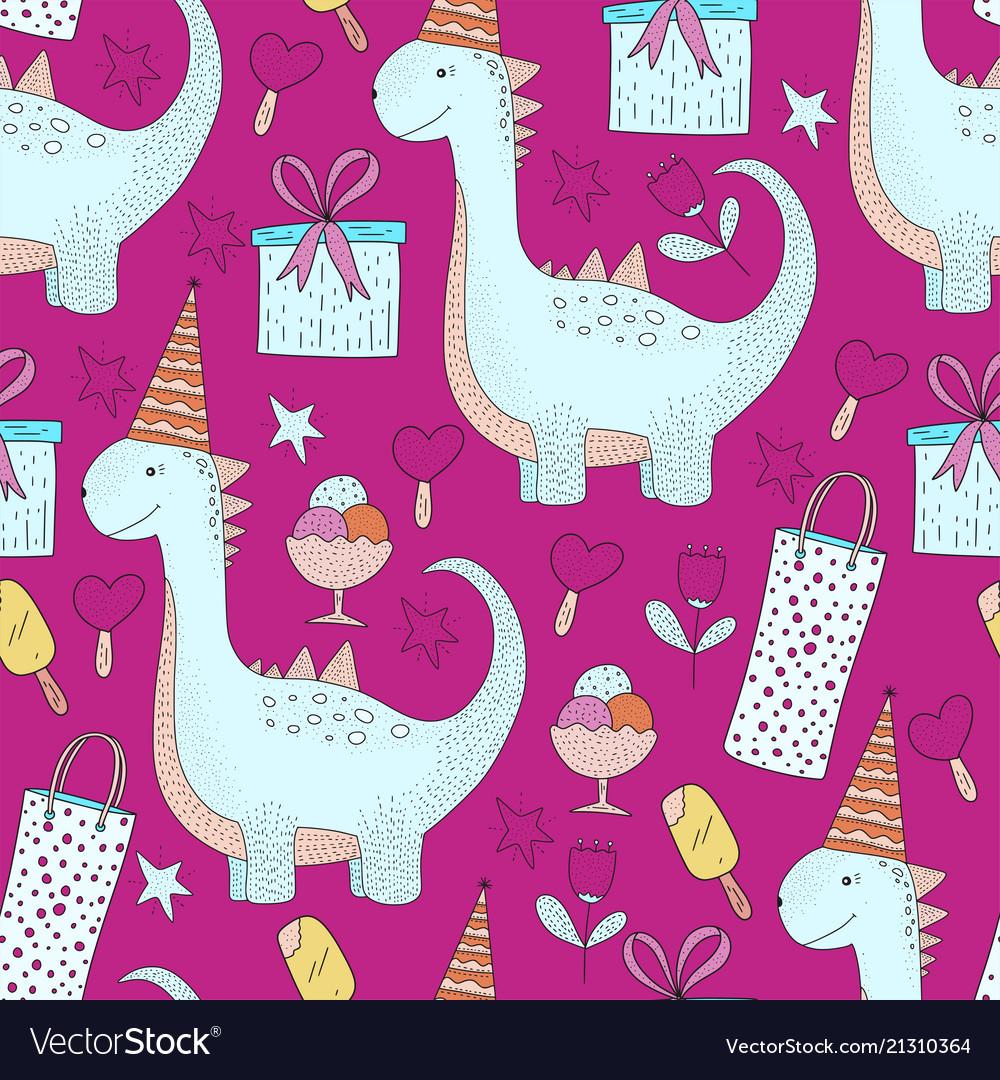 Birthday seamless pattern cute greeting