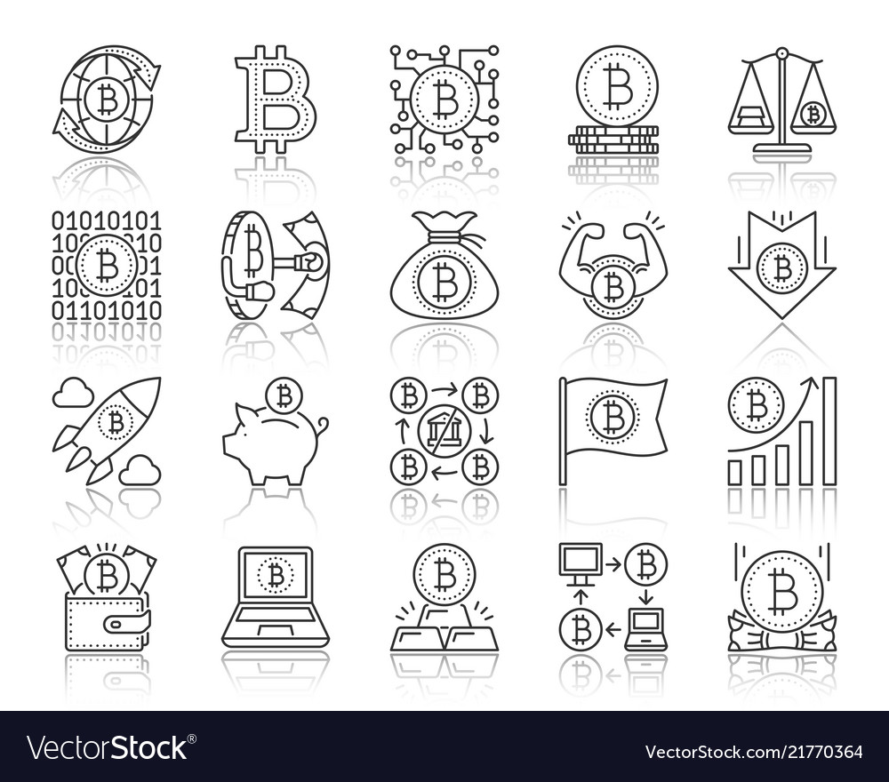 Bitcoin simple black line icons set