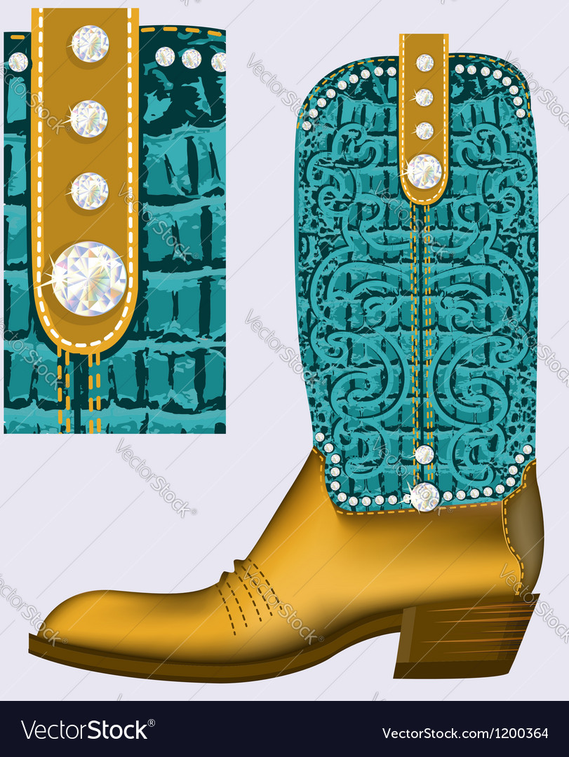 Cowboy bootLuxury shoe with diamonds for design vector image