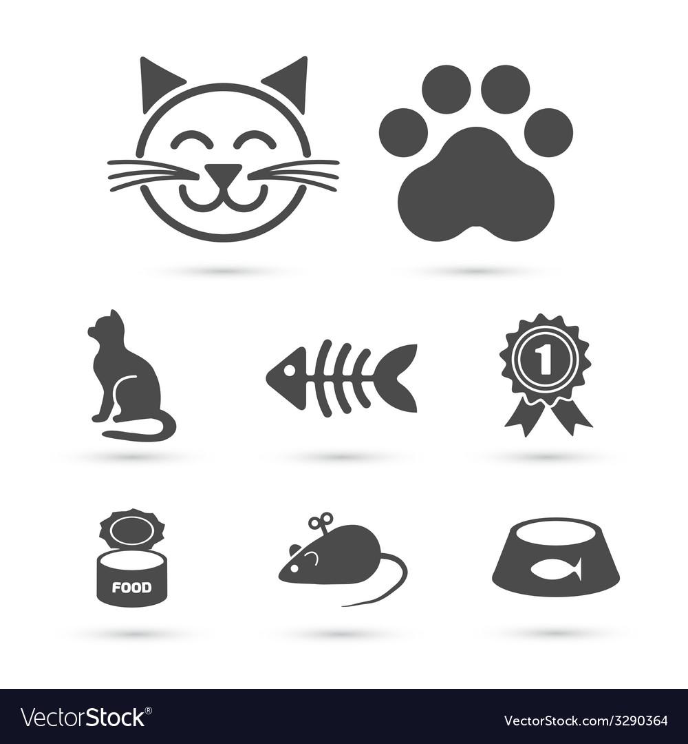 Cute cat icon symbol set on white