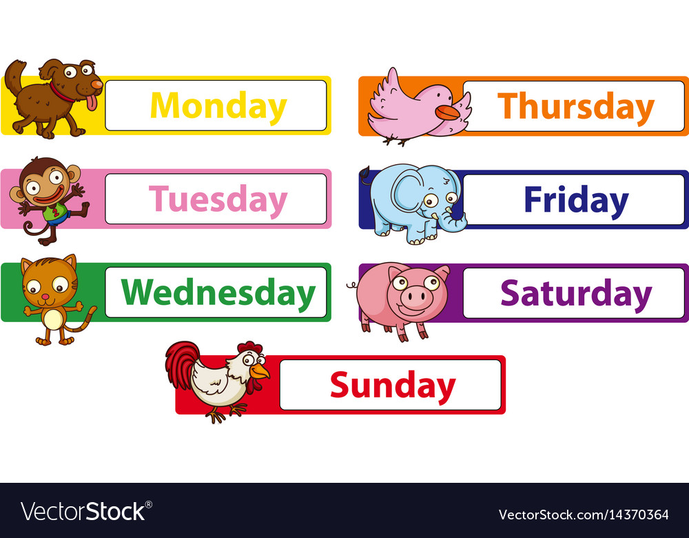 Days of the week with animals on the signs vector image