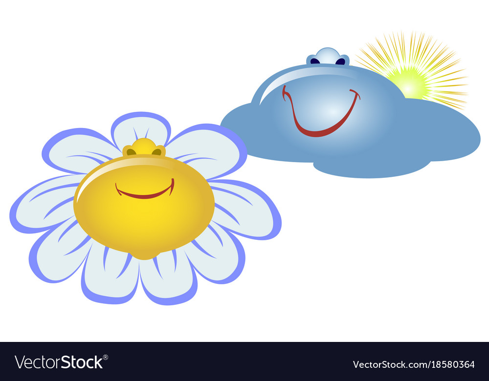 Emoji Emoticons In The Form Of Flower And Clouds Vector Image