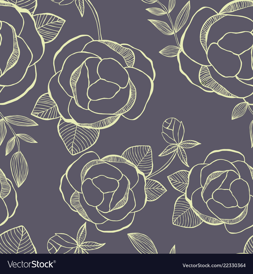Flower seamless pattern with hand drawning flowers