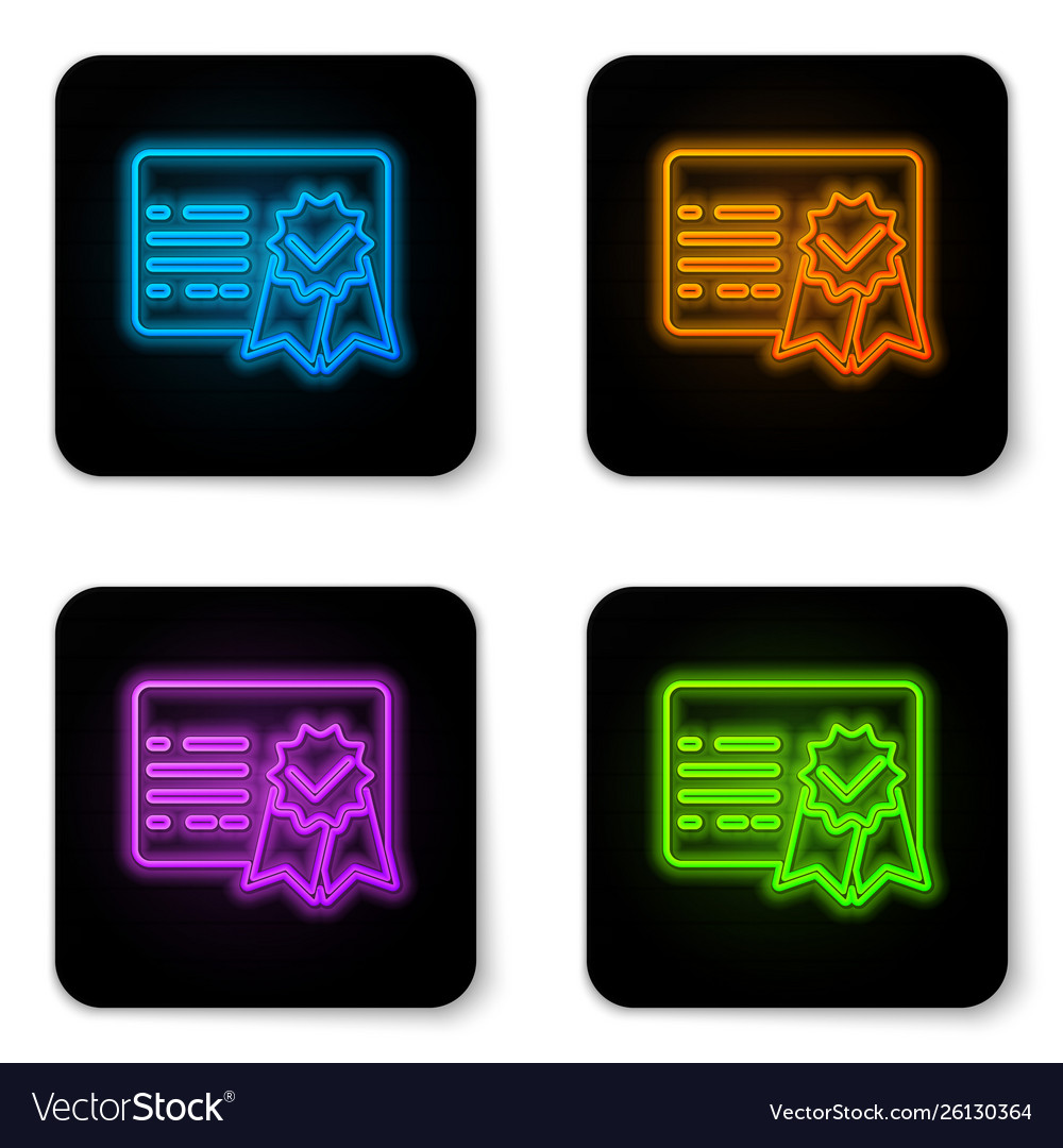 Glowing neon certificate template icon isolated