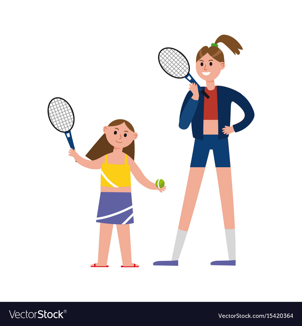Happy mother playing tennis with her daughter