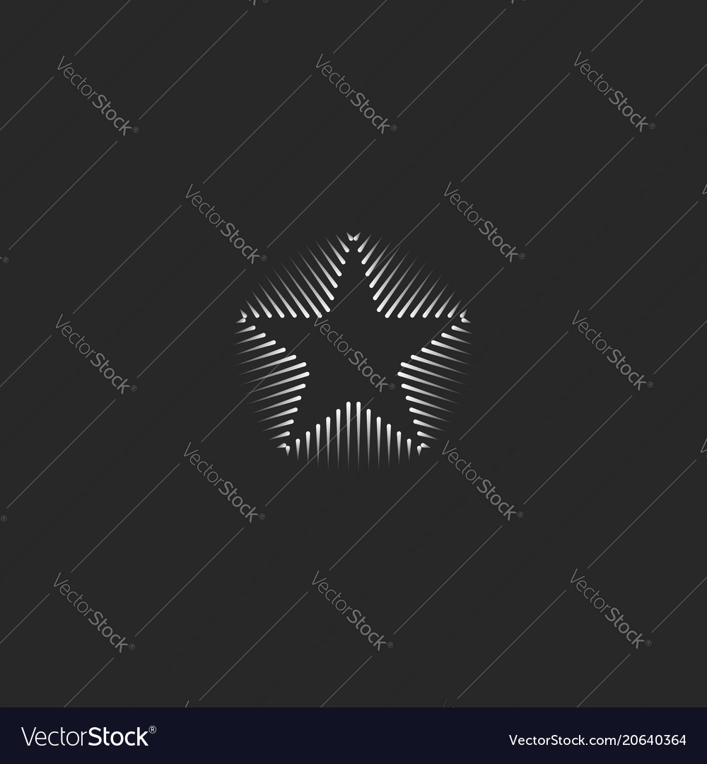 Linear star logo business card template hipster