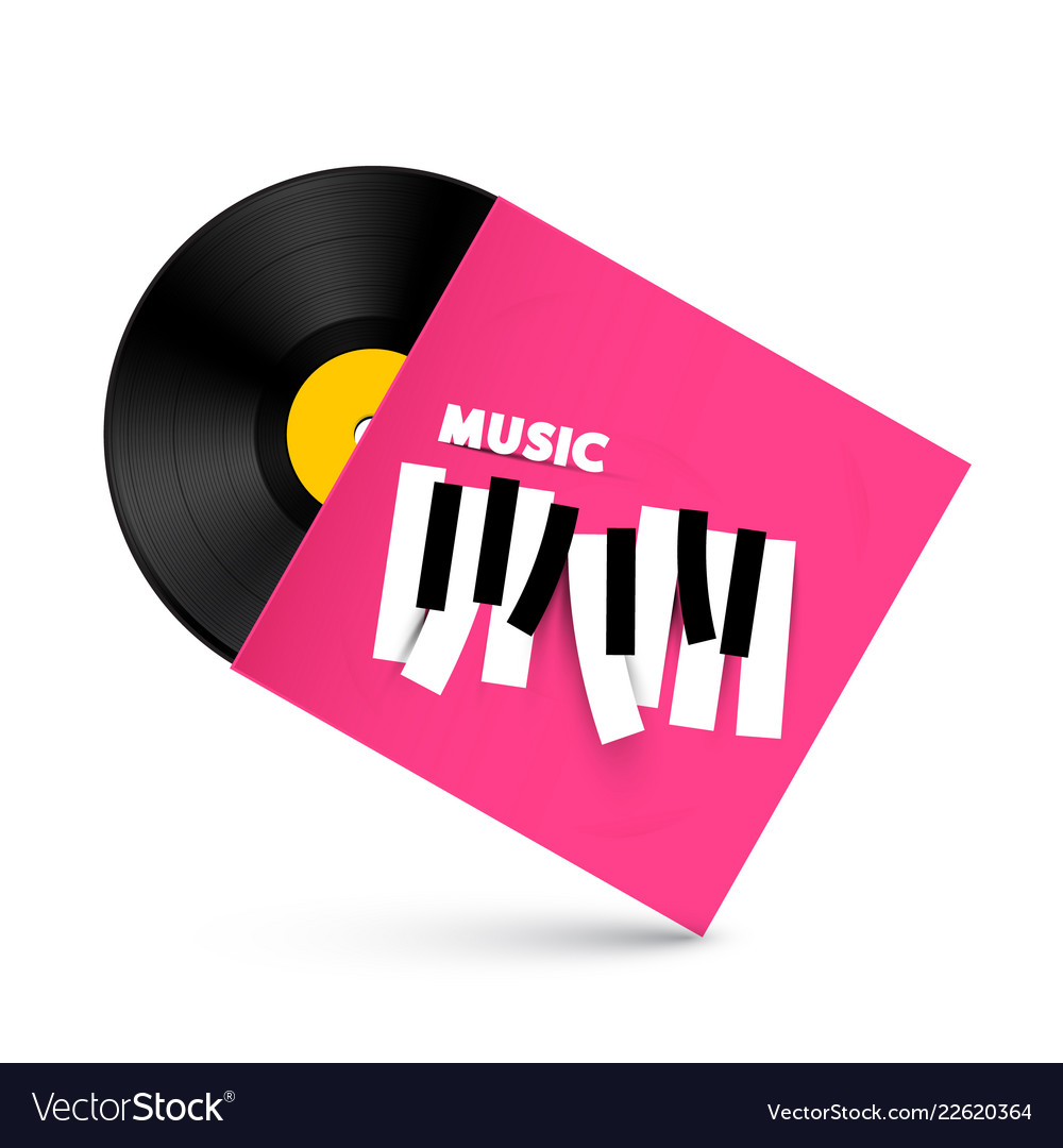 Lp vinyl record with music symbol on paper cover