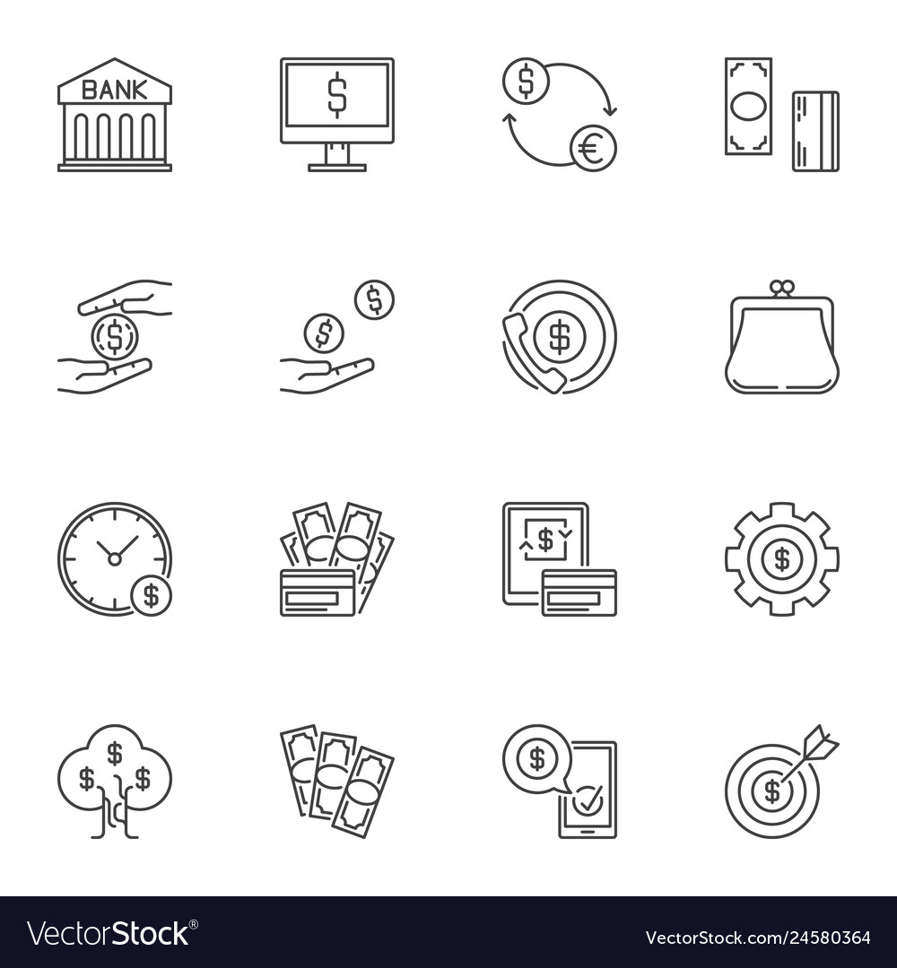 Money concept icons or signs in thin line