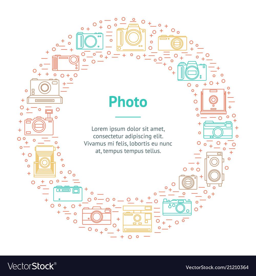 Photo camera thin line banner card circle