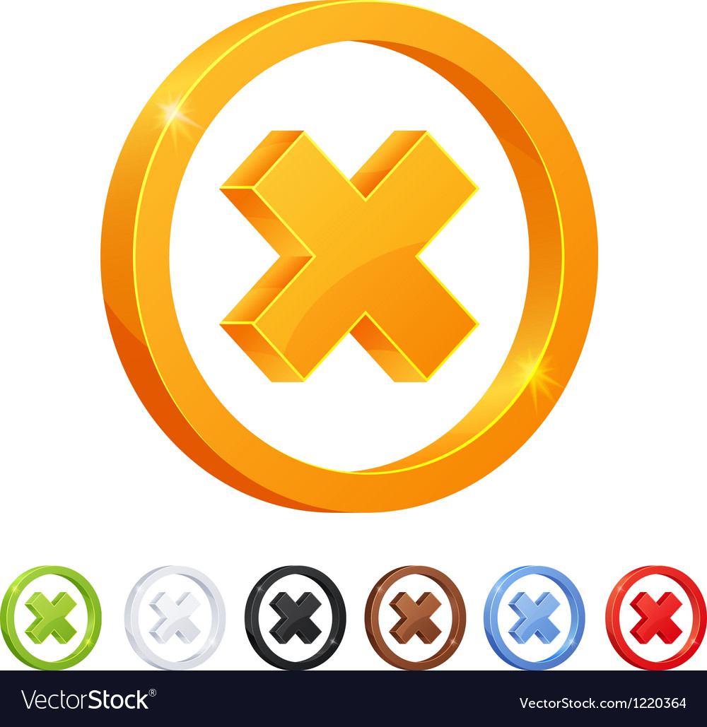 Set of 7 X mark symbol in different colors vector image