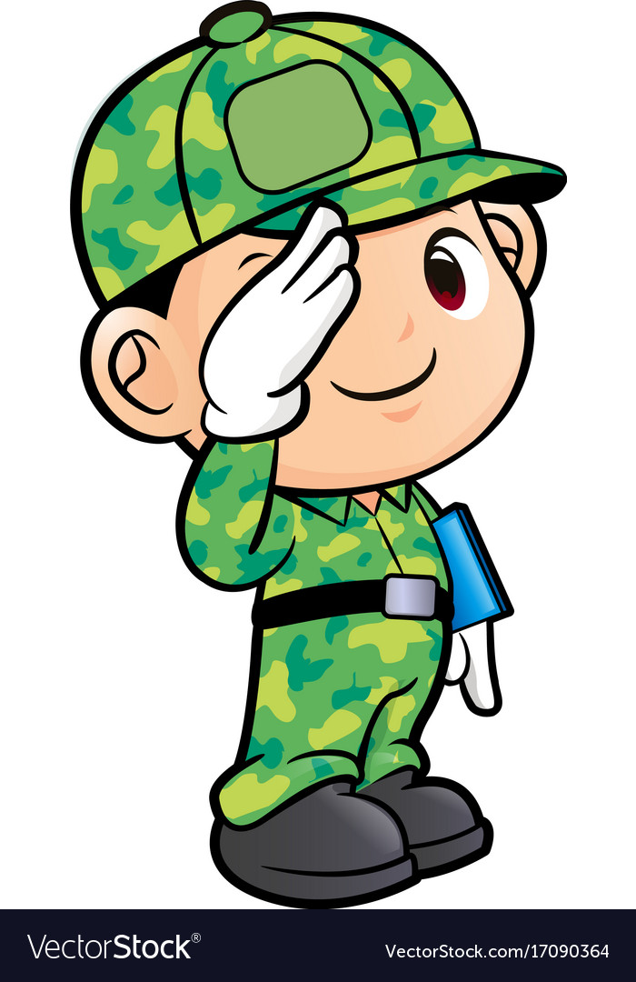 Soldier character military salute isolated on