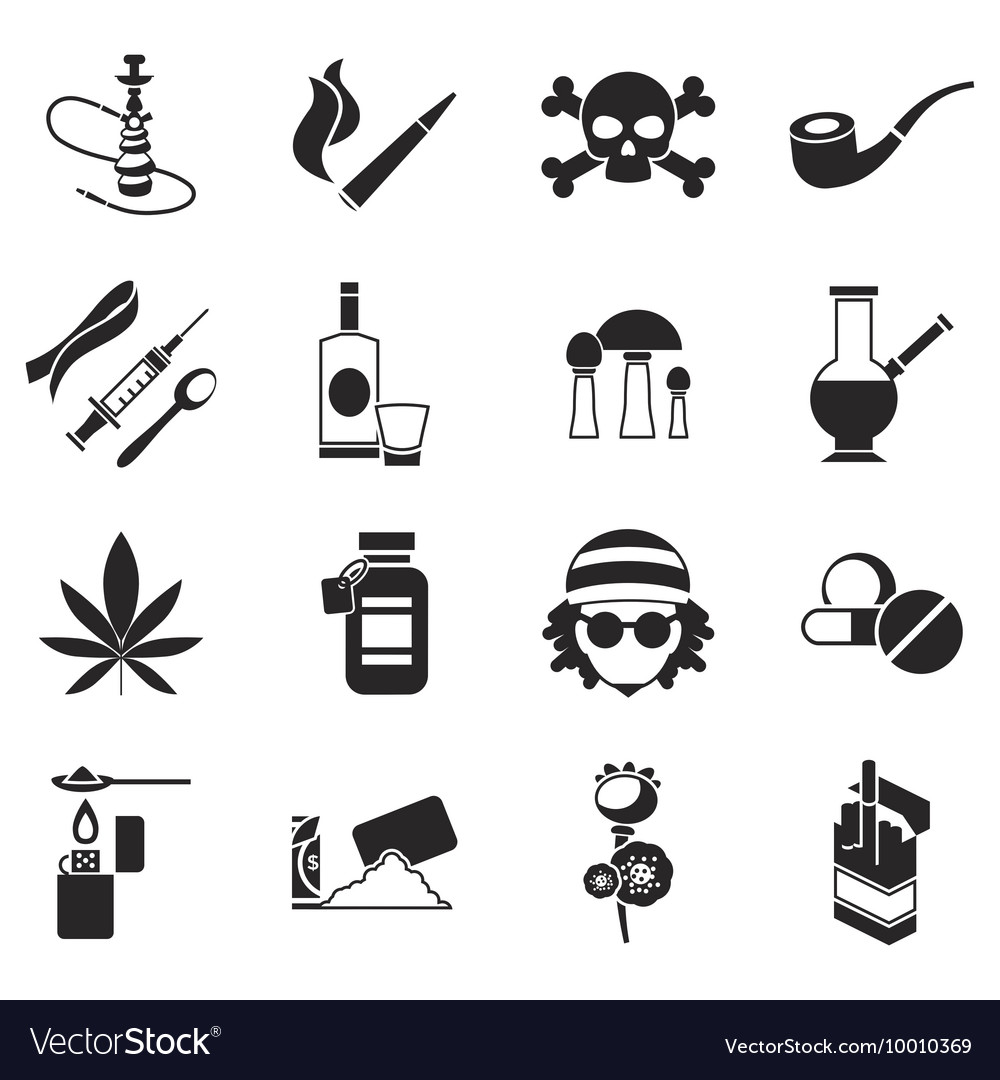 black drugs icon set royalty free vector image vectorstock