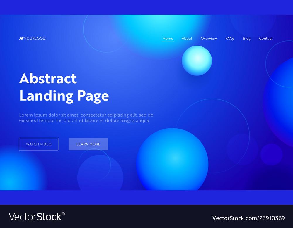 Blue abstract geometric circle shape landing page