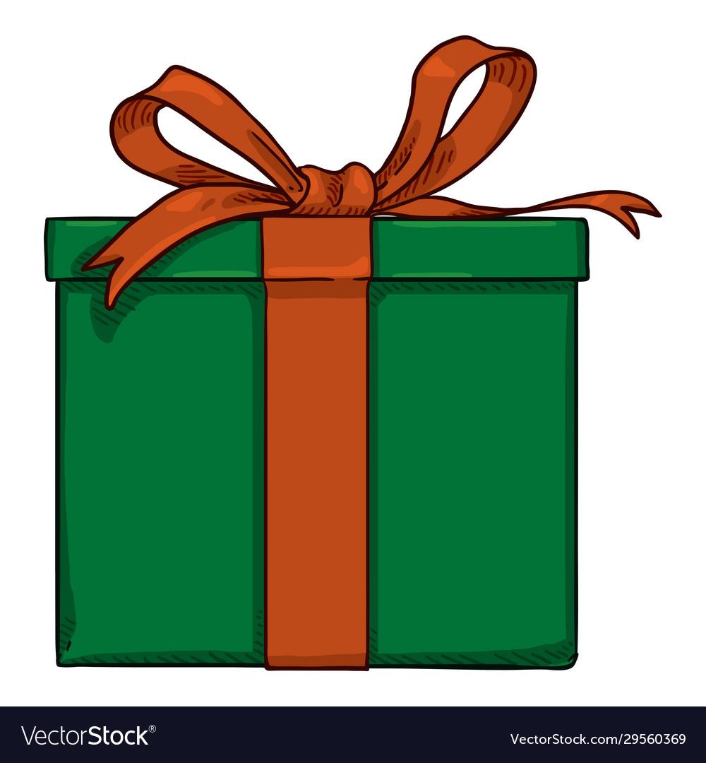 Cartoon Green Gift Box Royalty Free Vector Image