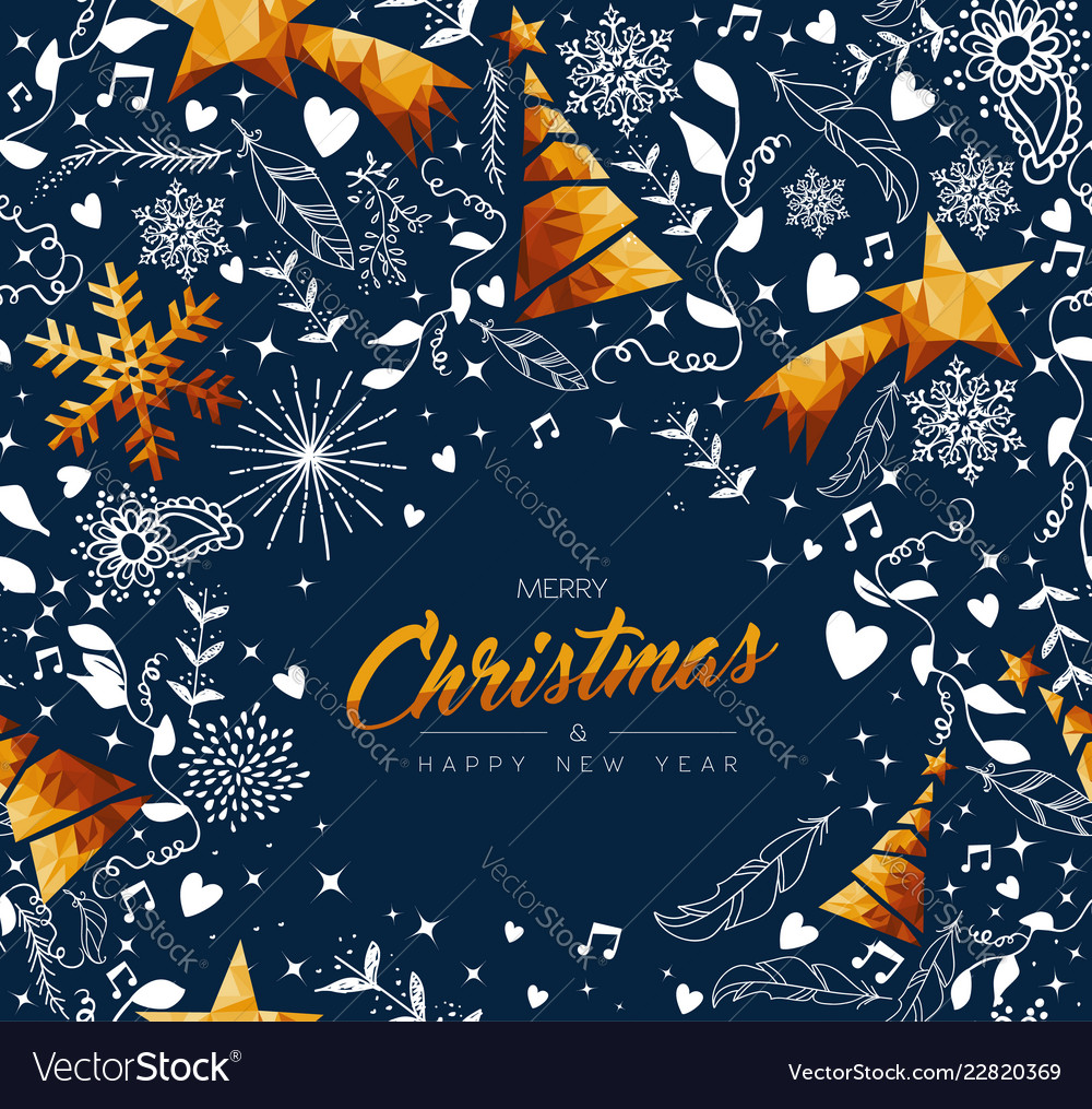Christmas and new year gold low poly ornament card